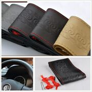 Diy Leather Anti-slip Car Steering Wheel Cover With 2 X Needle 2 X Line