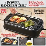 Power Smokeless Indoor Elecric Grill Xl 1500w Tempered Glass Lid And Turbo Speed