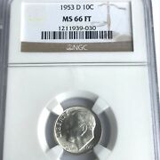 1953 D Roosevelt Dime Ngc Ms 66 Ft Fb Full Torch Band Bright X21