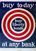 Buy Liberty Bonds Any Bank Large Poster - Ww 1 - Original Collectable Scarce