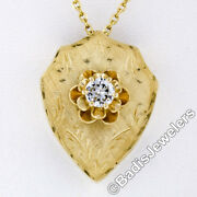 Vintage 14k Gold .40ct Old Transitional Diamond Hand Etched 2-way Shield Pendant