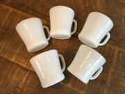 5 Vintage Federal Heat Proof White Milk Glass Coffee Mugs Cups D Handle