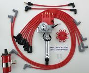 Small Block Chevy Small Hei Distributor+ Red 45k Coil + Plug Wires Under Exhaust