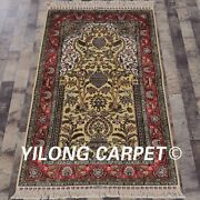 Yilong 3.3and039x5.5and039 Hand Knotted Golden Silk Rug Tight Weave Indoor Carpet L139a