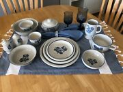 Huge Collection Of Vintage Pfaltzgraff Yorktowne Blue Dishes - Excellent Cond