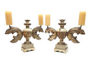 Pair Of Italian Baroque Milanese Urns Candle Holders