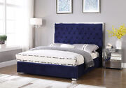 Chrome Frame Legs Bedroom Furniture Blue Color Queen Size Upholstered Fabric Bed