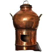 Antique Traditional Copper Egyptian Dish Cooking Bean Pot With Lid And Burner