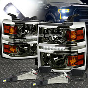 Smoked Amber Drl Projector Headlight+6000k White Led System For 14-15 Silverado