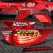 Red 3d Led Tail Lights+ Red Rear Reflector Lamp+3rd Brake Light For 13-16 Cx5