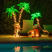 Curved Led Lighted Palm Tree Home Patio Decor 10 Function Remote Control And Timer