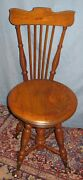 Antique Oak Piano/organ Stool/chair 35h Tonk Chicago And New York Swivel Seat