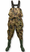 Michigan Camouflage Nylon Fly Coarse Fishing Chest Waders With Belt Andndash Size 6-12