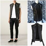 Ultra Rare And Great Balmain Ss15 Black Zipped Ribbed Biker Leather Gilet / Vest