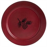 Park Designs Linville Pine Cone Enamelware Red Dinner Plate Set Of 4