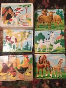 Vintage 1950 6-sided Wood Cube Picture Puzzle Animals Jigsaw Original Box