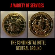 John Wick The Continental Hotel Gold Coin Lot Challenge Coins Solid Brass Reeves