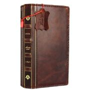 Genuine Leather Case For Iphone Xs Max Wallet Handmade Cover Bible Book Design