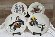 Norman Rockwell Four Seasons Set Of Four Plates Me And My Pal Gorham 1975