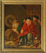 Couple In A Barn 20 Off Old Antique Oil On Canvasfrench Genre Painting