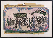 Purvis Young Procession | Original Mixed Media/paper | Framed | Make An Offer