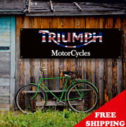 Triumph Motor Cycles Banner Vinyl Or Canvas Advertising Garage Sign Many Sizes