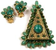 Unusual Designer Green Rhinestone And Glass 3 Tiered Christmas Tree Pin And Earrings