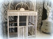 Vintage Victorian Style Bird Cage Oversized White Wood + Wire Needs Repairs