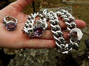 Pianegonda Necklace Huge Amethyst Sterling Italy Rare Heavy Sold Out 6 Ounces