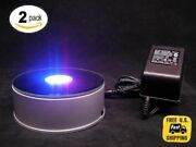 2 Pack 3d Crystal Glass Laser 7led Rotating Electric Light Stand Base Display 4