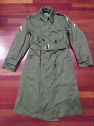 U S Army 7th Military Green Winter Field Trench Coat Jacket W/patches Ww Ii 2