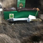 1992 6375 White Hunter Knife Stag Handles Leather Sheath G/y Box Mint A18