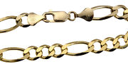 14k Solid Yellow Gold Figaro Link Chain Necklace 8.5mm Men's Women Sz 20-30
