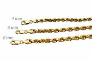 Solid 14k Yellow Gold 4mm-6mm Rope Chain Link Pendant Necklace Men Women 18-30