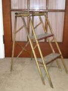 Metal And Wood Mixed 2 Step Antique Vintage Step Wood Folding Ladder Small Ladder