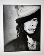 Steven Tyler Signed 24x30.5 Canvas Custom B/w Tophat Painting Exact Proof