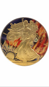2016 1 Oz Ounce American Eagle Silver Burning Money Colorized Gilded Coin 999