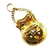 Victorian 14k Yellow Gold And Pearl Mechanical Coin Purse Charm Circa 1900s