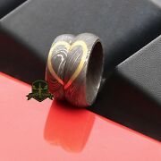 Custom Damascus Steel Brass Heart His Hers Couple Rings Wedding Bands