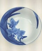 Elegant Bowl Made In Japan Blue With Lillies And Stems On White Porcelain 10.5