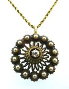 Antique 14k Yellow Gold Natural Pearl And Diamond Necklace Circa 1900s