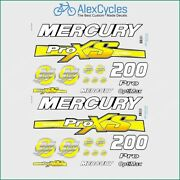 Mercury 200 Hp Optimax Proxs Outboadrs Motor Yellow Laminated Decals Boat