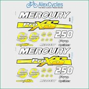 Mercury 250 Hp Optimax Proxs Outboadrs Motor Yellow Laminated Decals Boat