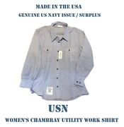Us Military Navy Usn Blue Chambray Utility Work Long Sleeve Shirt Womenand039s 40x32