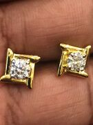 Classy 0.98 Cts Natural Diamonds 4-prong Stud Earrings In Fine Hallmark 18k Gold