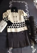 Thick Cashmere Cardigan Sweater Jacket, Black And White-mint Conditii Fr36