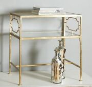 Gold Leaf Iron And Glass Accent Side End Table Hollywood Regency Horchow Chic