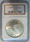 1923 Silver Peace Dollar Ngc Ms 65 Patriot Collection Pedigree Hoard Graded Coin