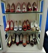 Miniature Collectible Shoes, Renetti, Lot Of 12 Pairs And White Wood Display Case