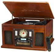 Victrola Record Player Turntable Speaker 7 In 1 Bluetooth Usb Recording Mahogany